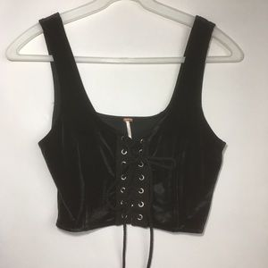 Free People black Velvety lace up crop tank top